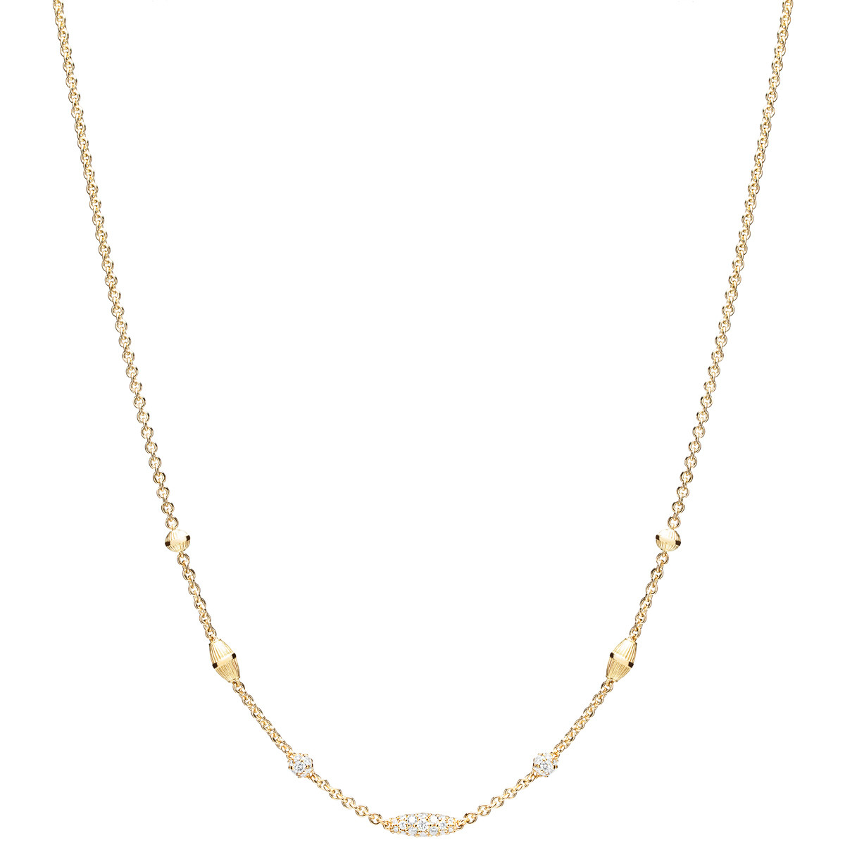 "18k Yellow Gold & Diamond ""Pipette"" Necklace"