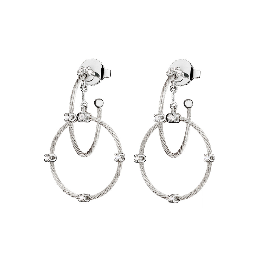 "Short 18k White Gold ""Unity"" Rain Chain Earrings"