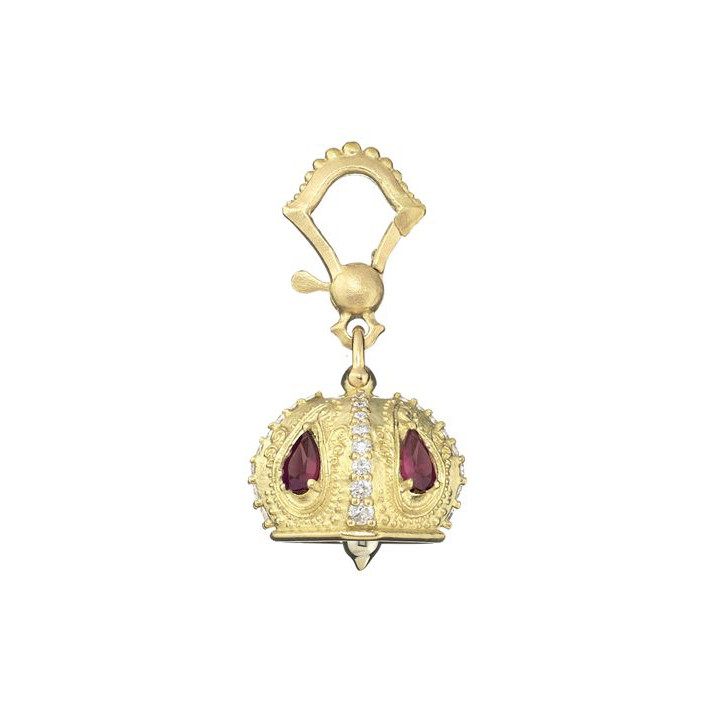 "Extra Small 18k Gold & Gemstone ""Raja"" Meditation Bell"