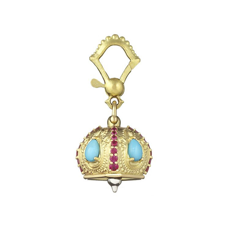"Small ""Raja"" 18k Gold & Gemstone Meditation Bell"