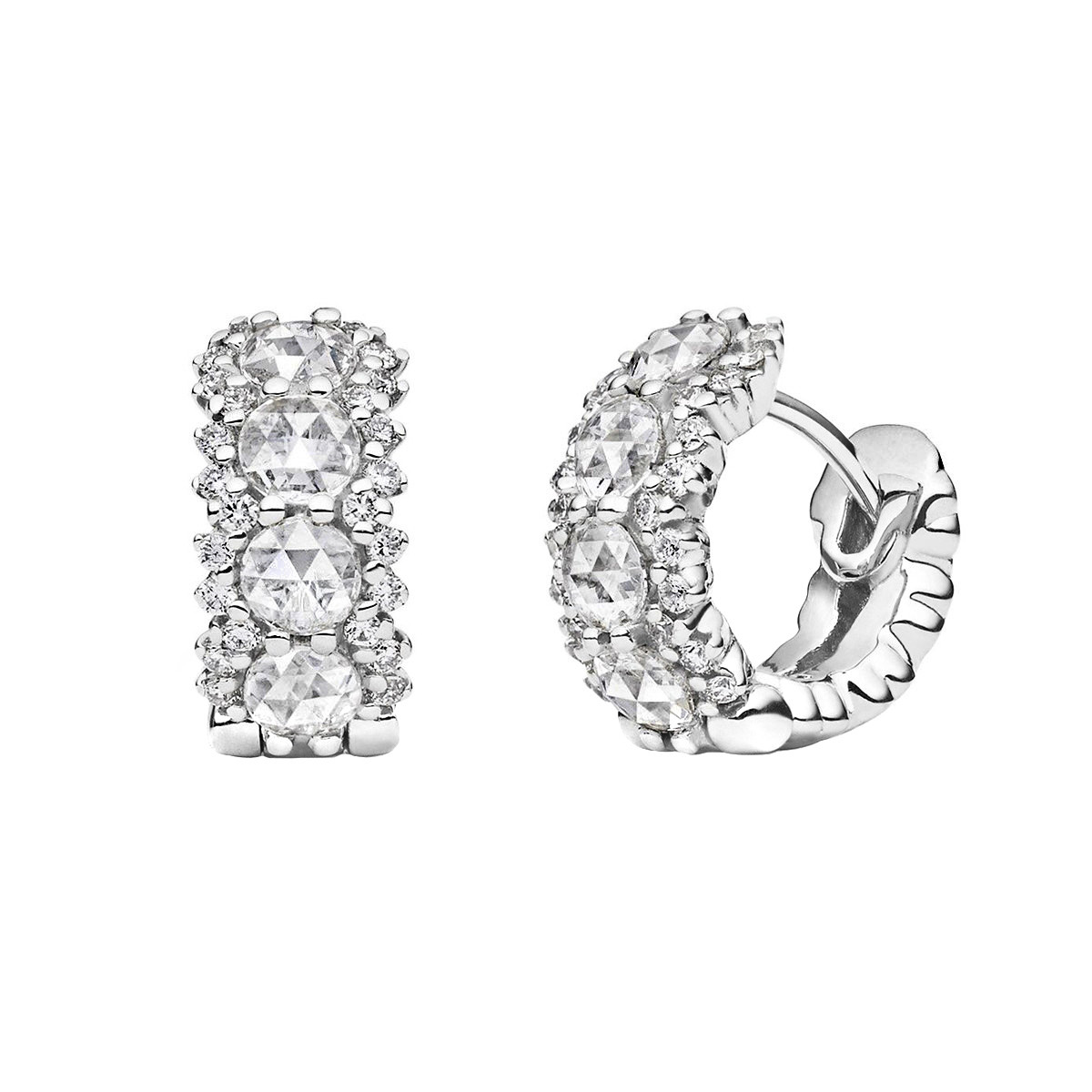 Large Rose-Cut Diamond Hoop Earrings