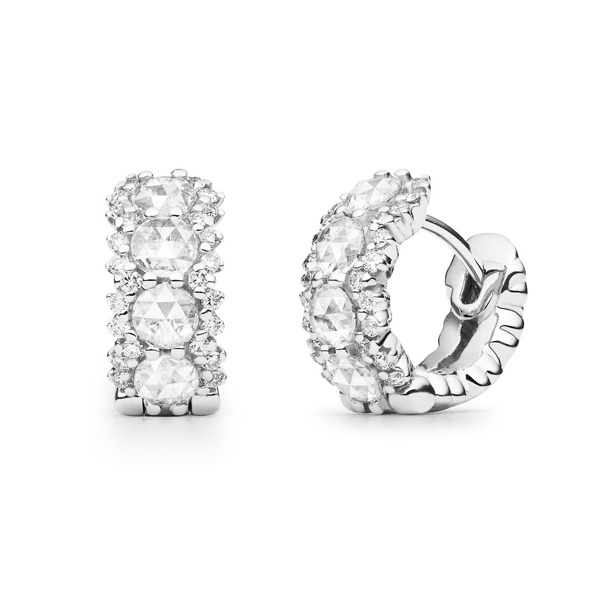 Rose-Cut Diamond Hoop Earrings