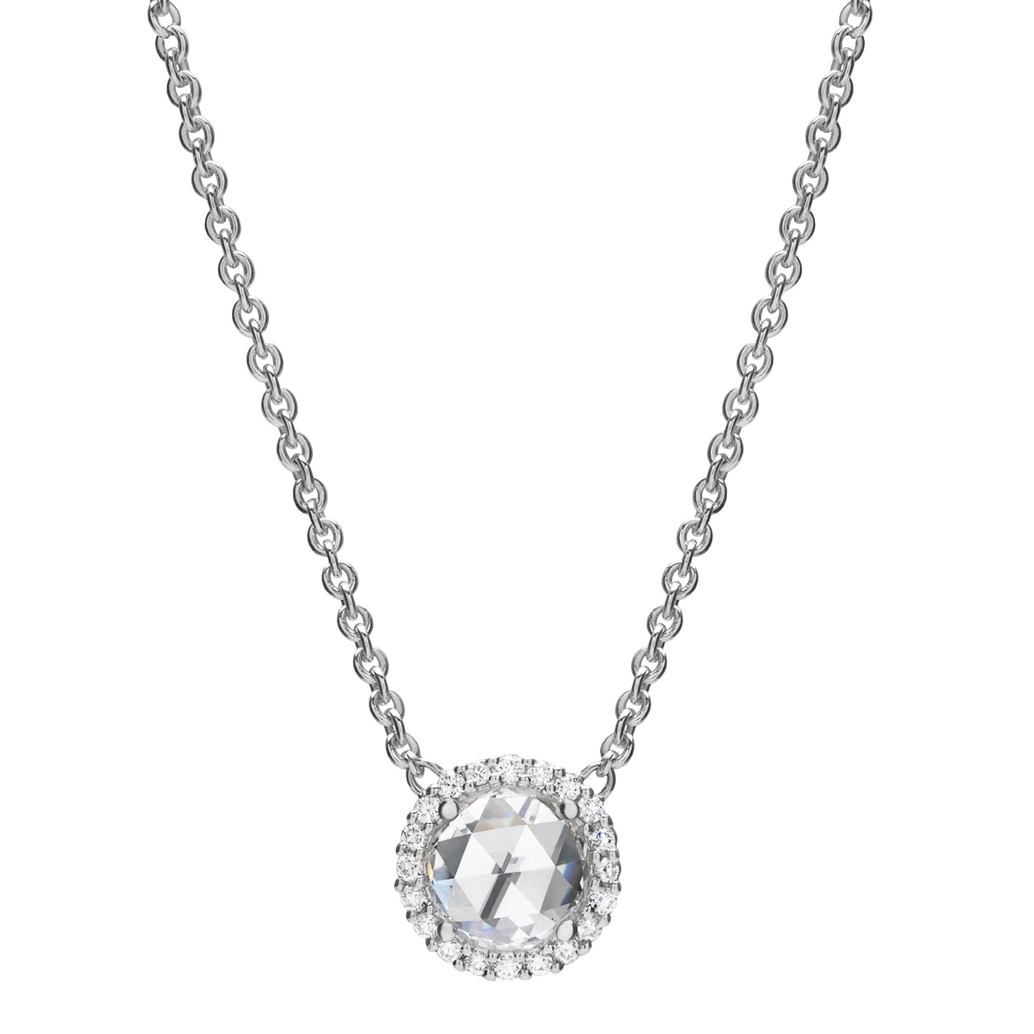"18k White Gold & Rose-Cut Diamond ""Pinpoint"" Pendant"