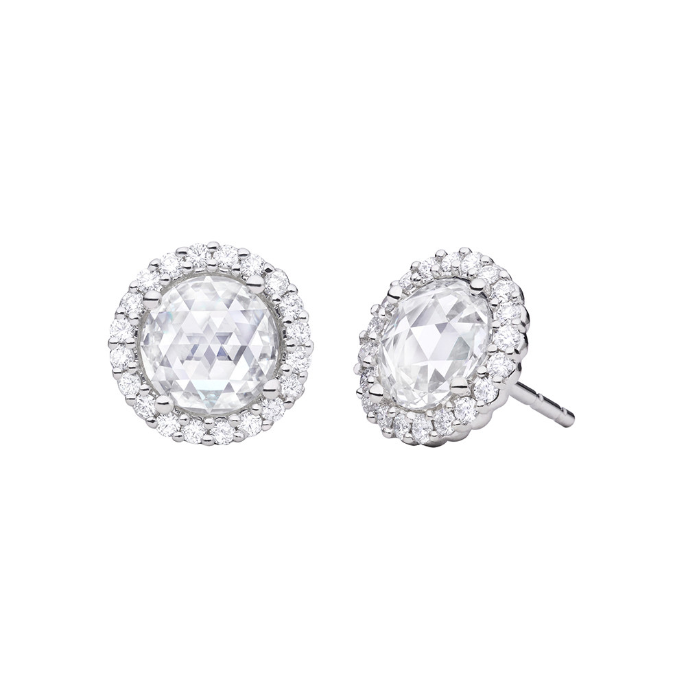Small Rose-Cut Diamond Cluster Stud Earrings