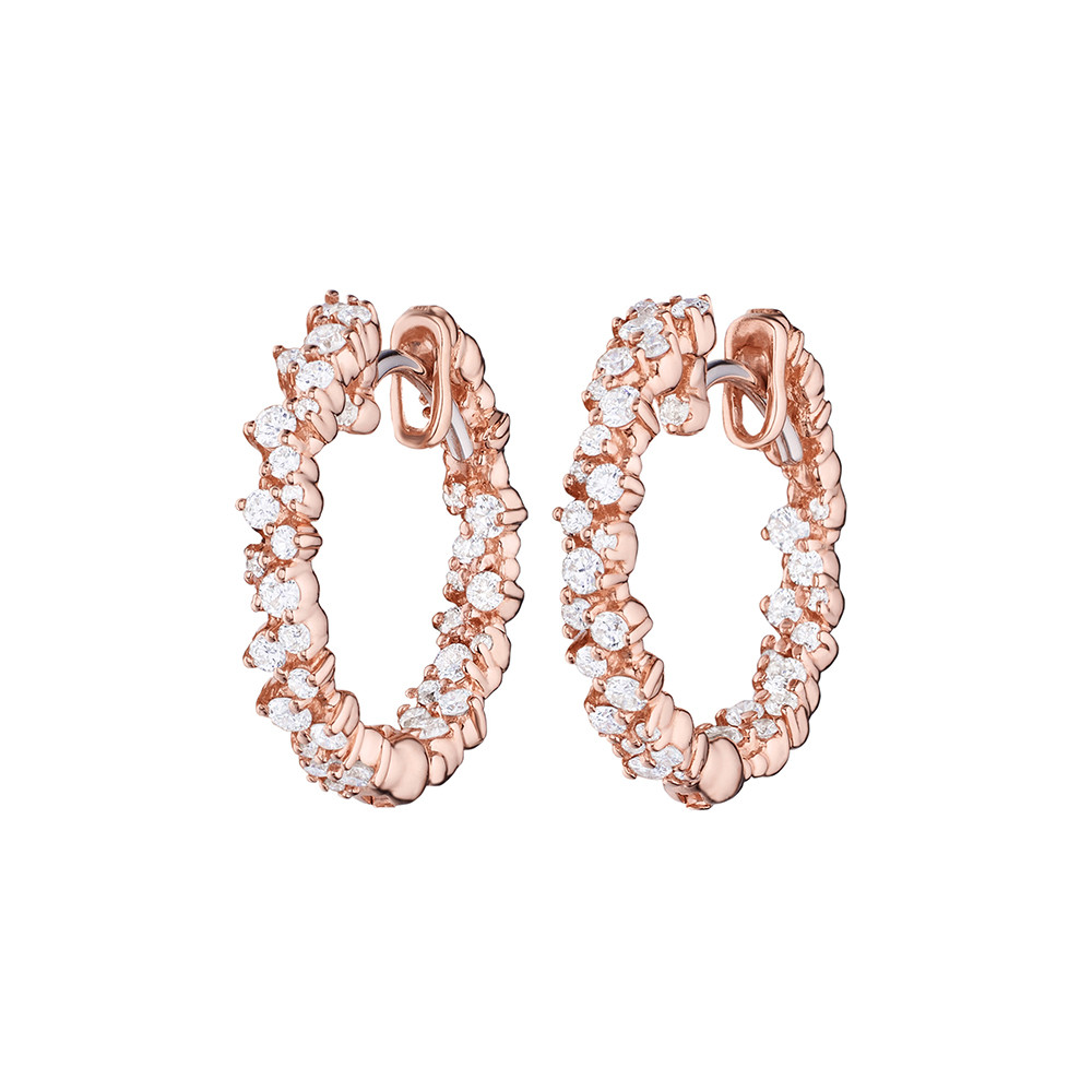 "Extra Small 18k Pink Gold & Diamond ""Confetti"" Hoop Earrings"