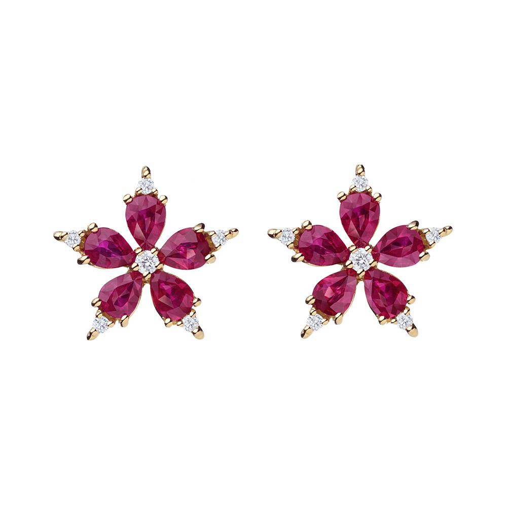 "Small Ruby & Diamond ""Stellanise"" Earrings"