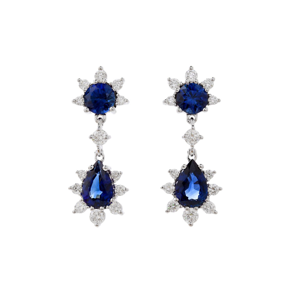 Sapphire & Diamond Double-Drop Cluster Earrings