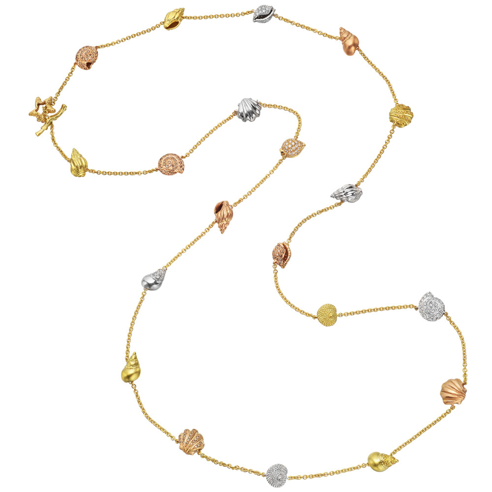 "18k Gold & Diamond ""Shell"" Long Station Necklace"