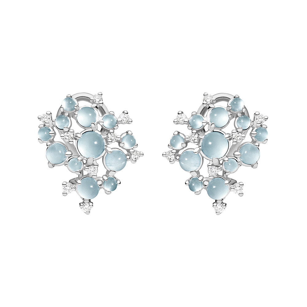 "Small Aquamarine & Diamond ""Bubble Cluster"" Earrings"