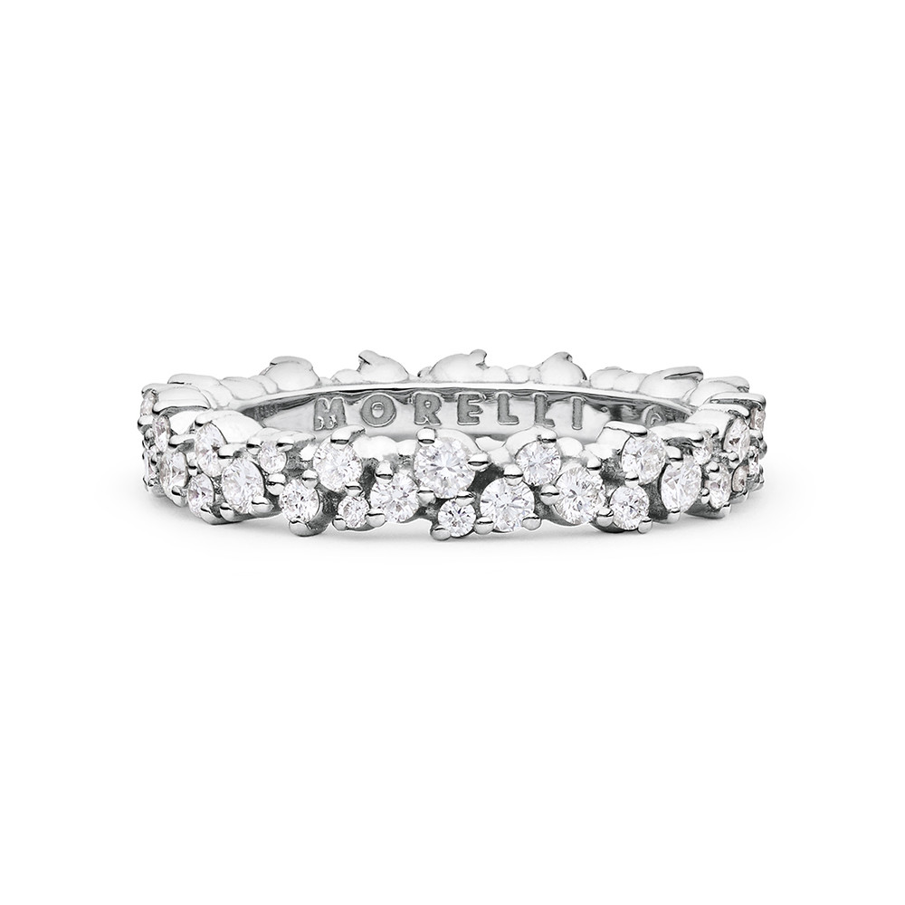 "Small 18k White Gold & Diamond ""Confetti"" Band Ring"
