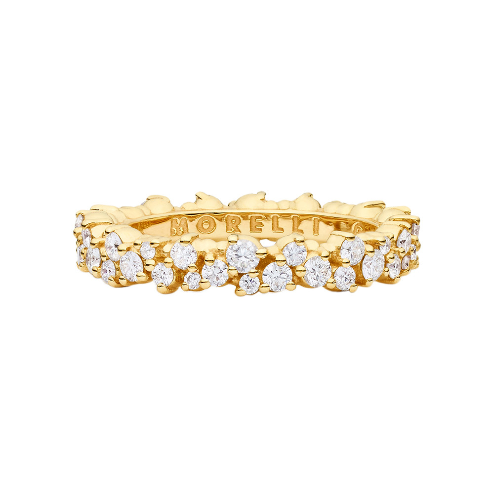 "Small 18k Yellow Gold & Diamond ""Confetti"" Band Ring"