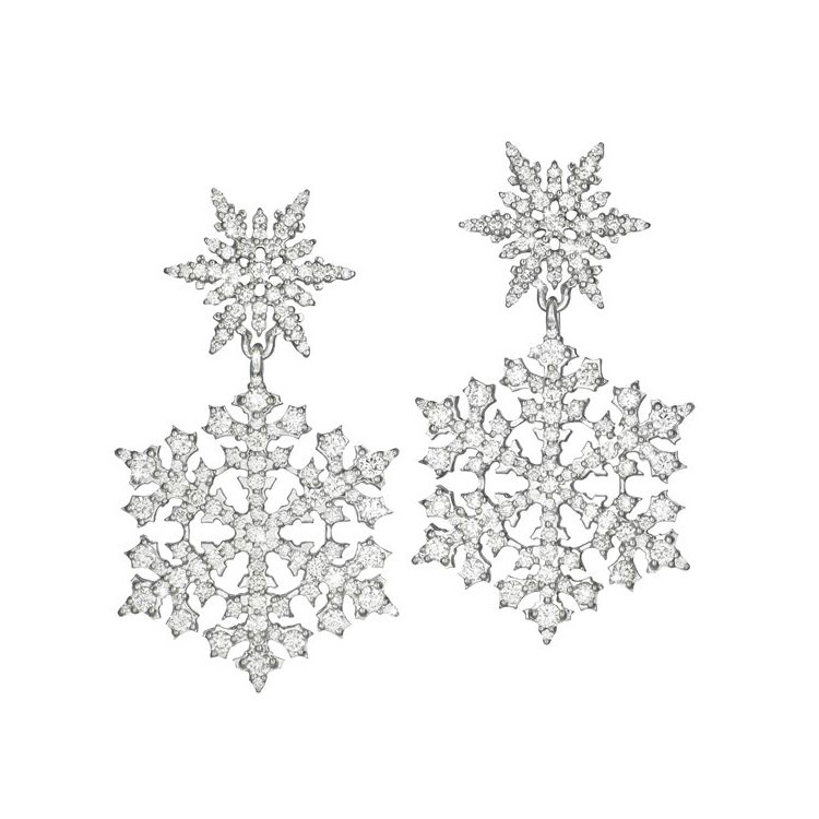 "Diamond ""Snowfall"" Double Drop Earrings"