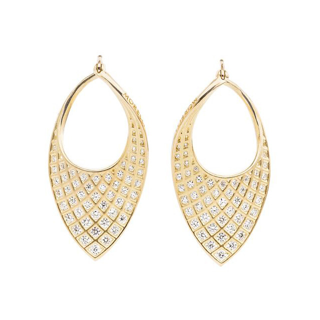 Large 18k Yellow Gold & Diamond Spiral Mesh Earrings