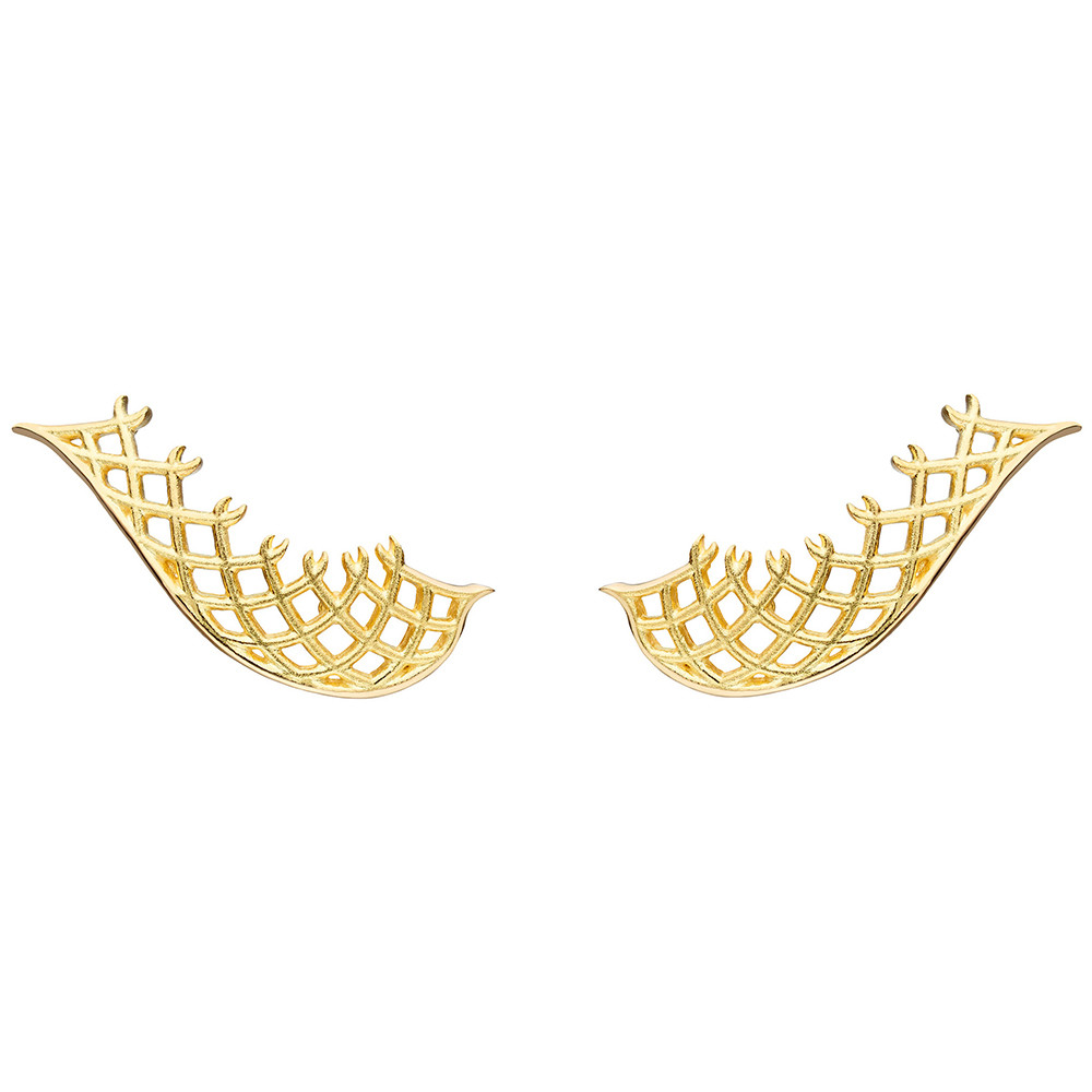 "18k Yellow Gold ""Spiral Mesh"" Trellis Earrings"