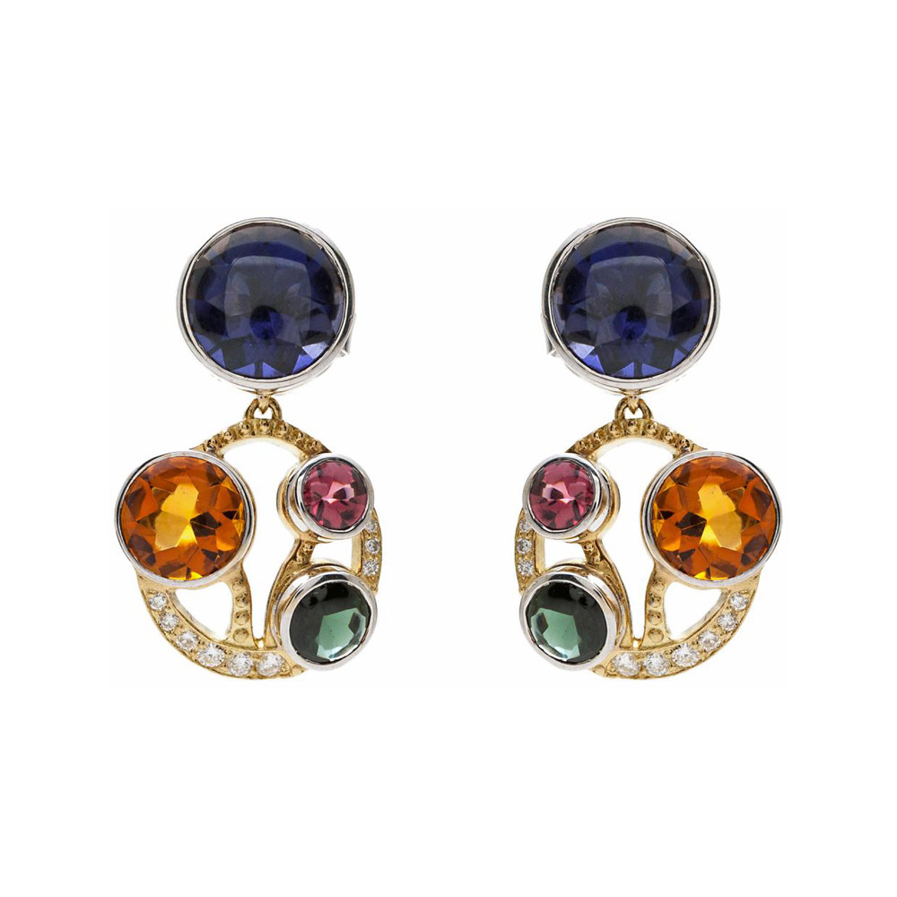 """Multicolored Gemstone & Diamond """"Stained Glass"""" Small Drop Earrings"""