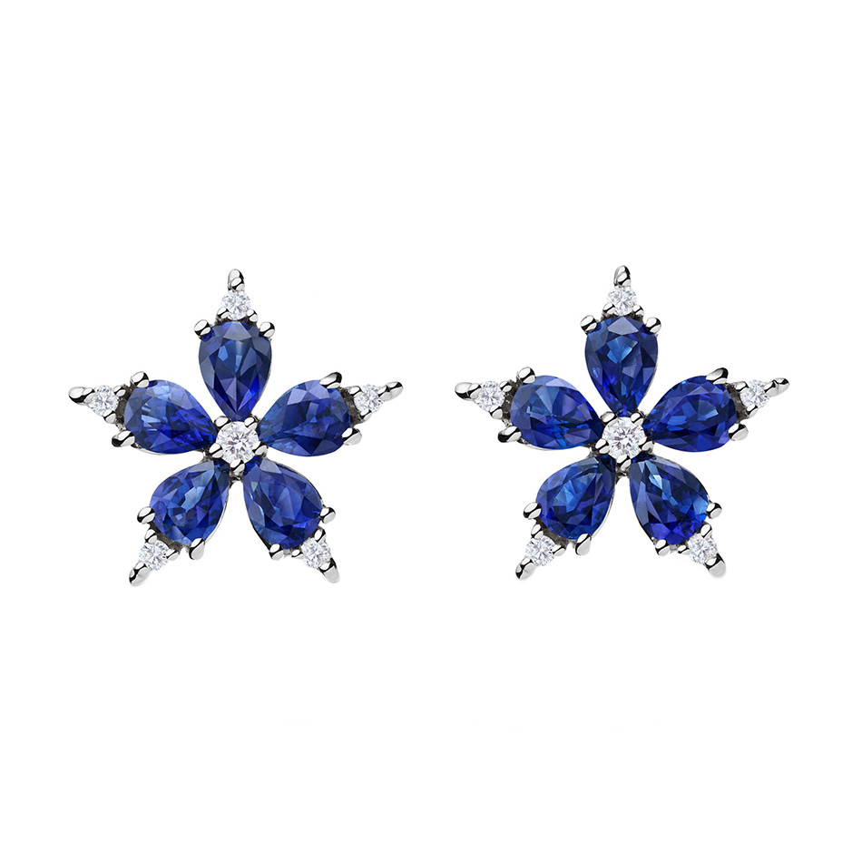 "Large Sapphire & Diamond ""Stellanise"" Earrings"
