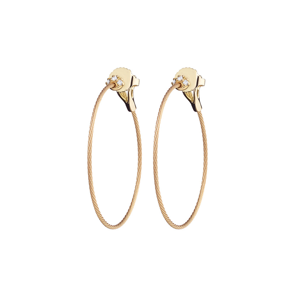 "Small 18k Yellow Gold & Diamond ""Unity"" Hoop Earrings"