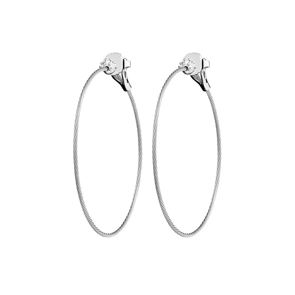 "Medium 18k White Gold & Diamond ""Unity"" Hoop Earrings"
