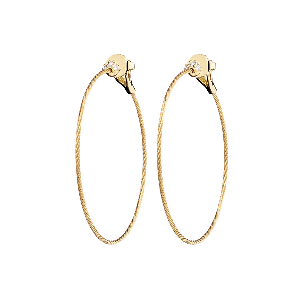 "Medium 18k Yellow Gold & Diamond ""Unity"" Hoop Earrings"