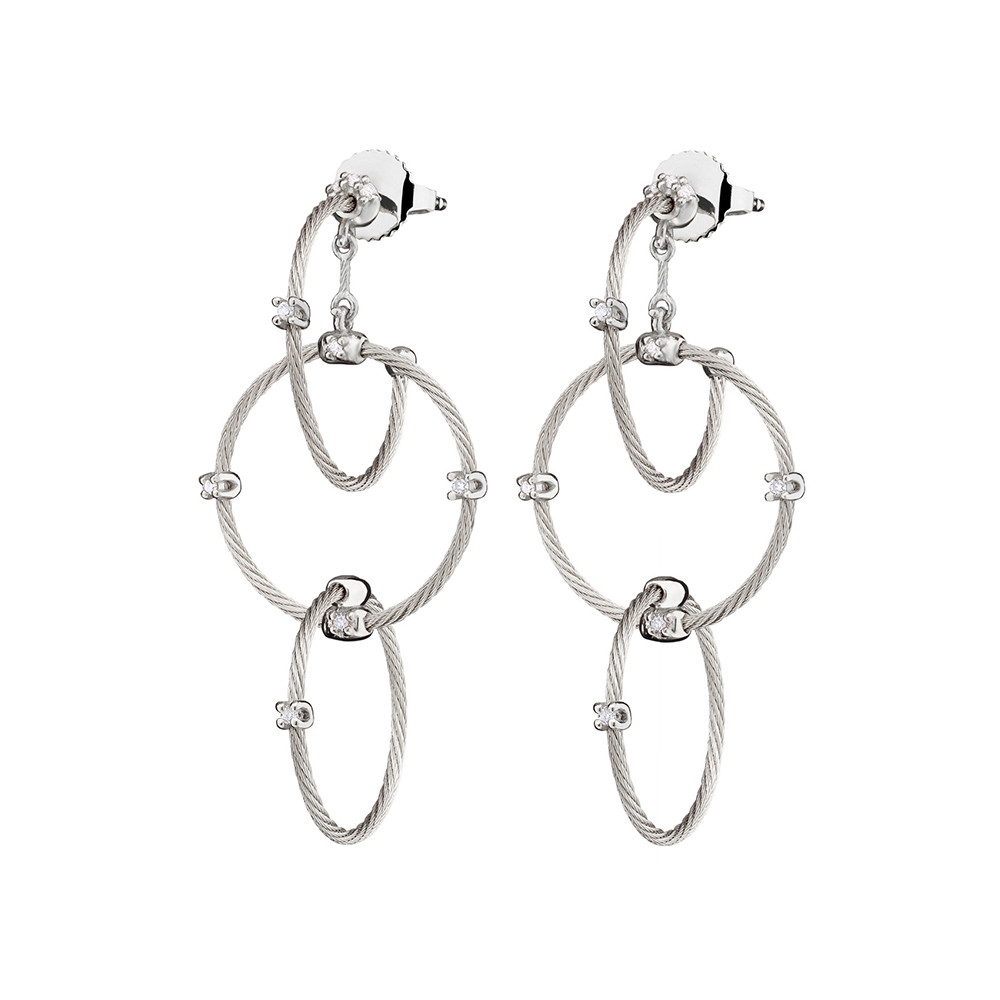 "Medium 18k White Gold ""Unity"" Rain Chain Earrings"