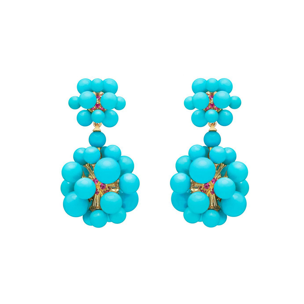 "Turquoise & Ruby ""Orbit"" Drop Earrings"