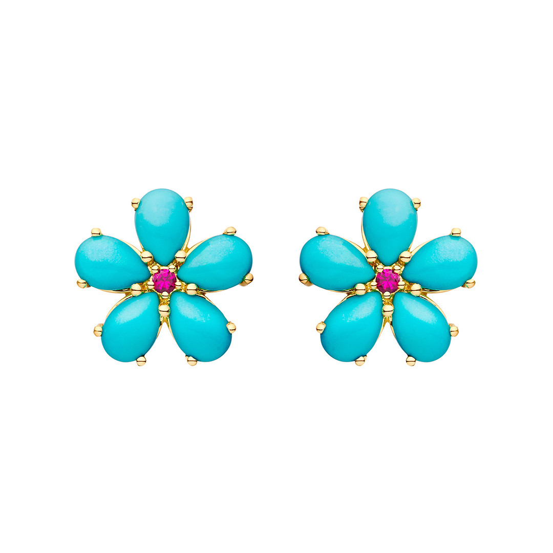 Small Turquoise & Ruby Flower Stud Earrings