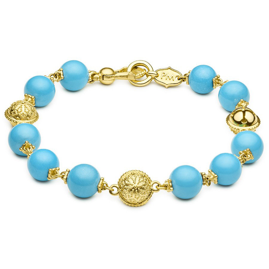 Turquoise & 18k Yellow Gold Prayer Bead Bracelet