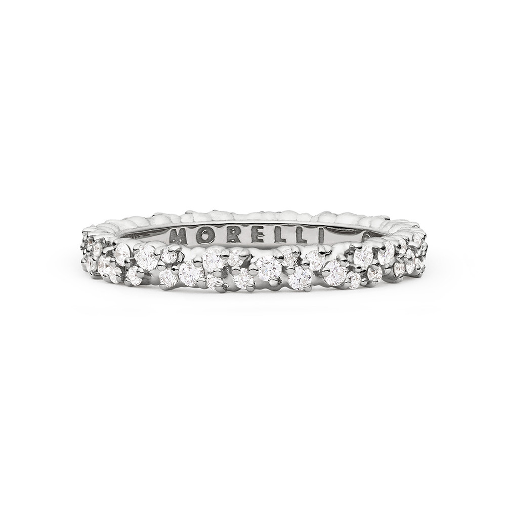 "Extra Small 18k White Gold & Diamond ""Confetti"" Band Ring"