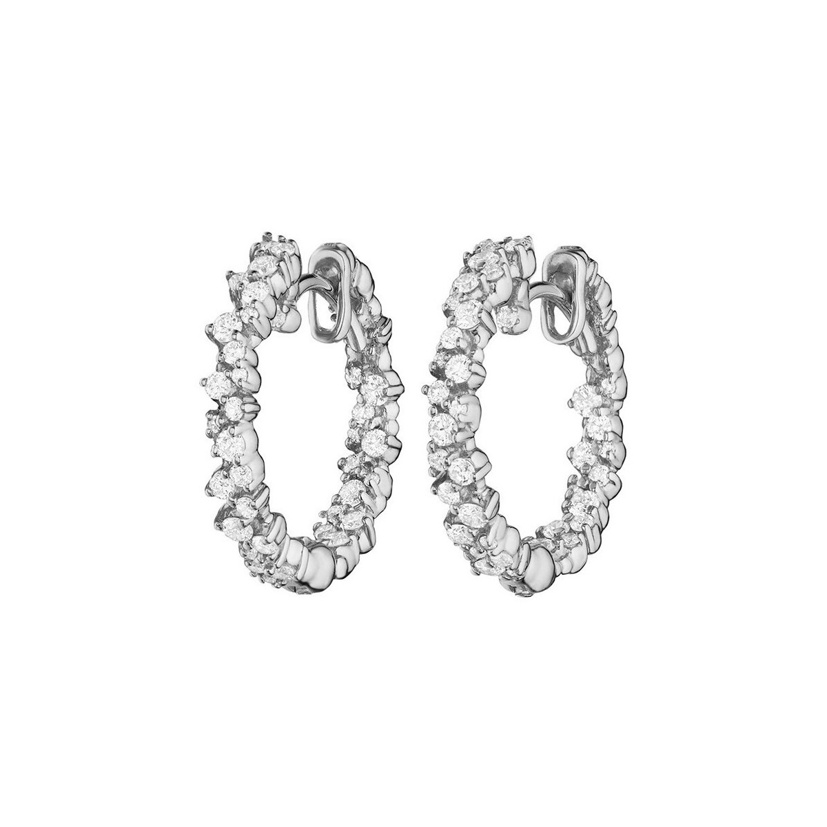 "Extra Small 18k White Gold & Diamond ""Confetti"" Hoop Earrings"
