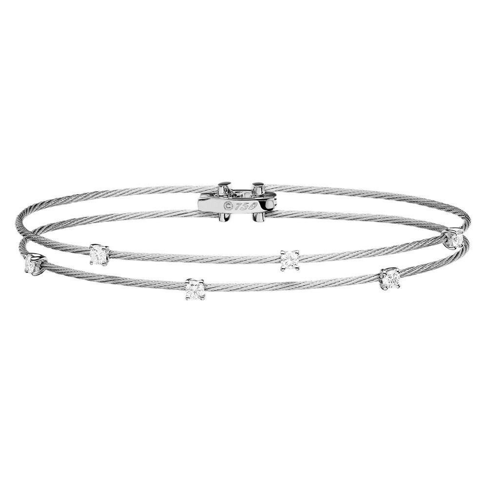 "Thin 18k White Gold & Diamond Double ""Unity"" Bracelet"