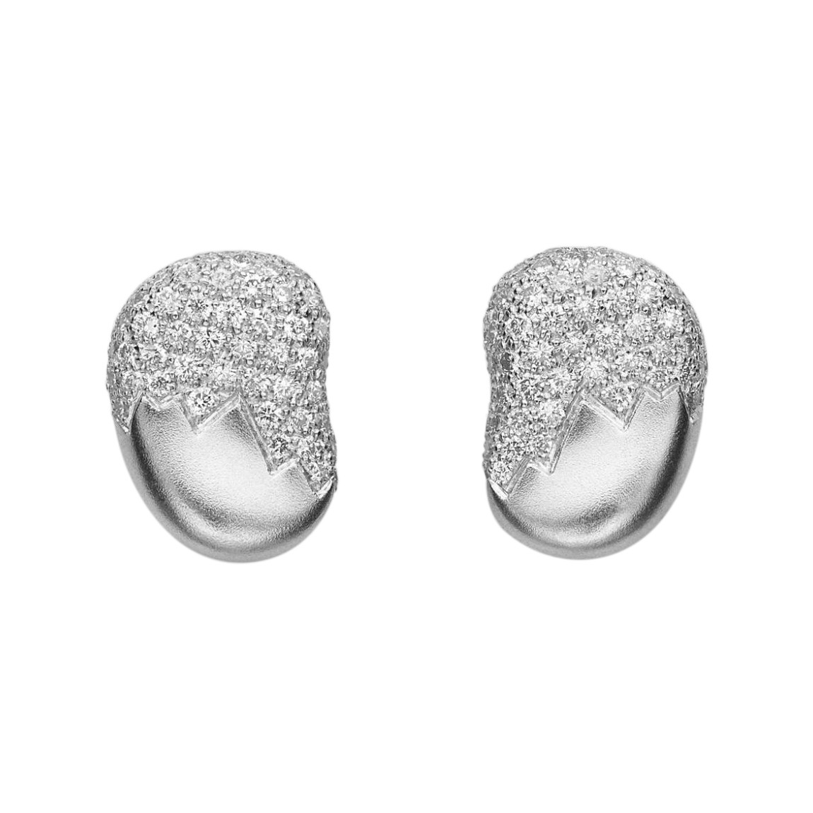 "18k White Gold & Diamond ""Pebble"" Earstuds"