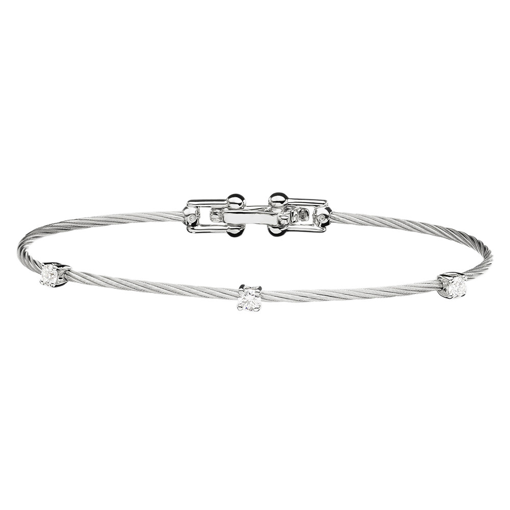 "Large 18k White Gold & Diamond ""Unity"" Bracelet"