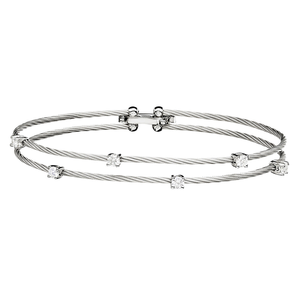 "Wide 18k White Gold & Diamond Double ""Unity"" Bracelet"