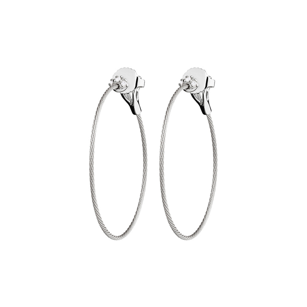 "Small 18k White Gold & Diamond ""Unity"" Hoop Earrings"