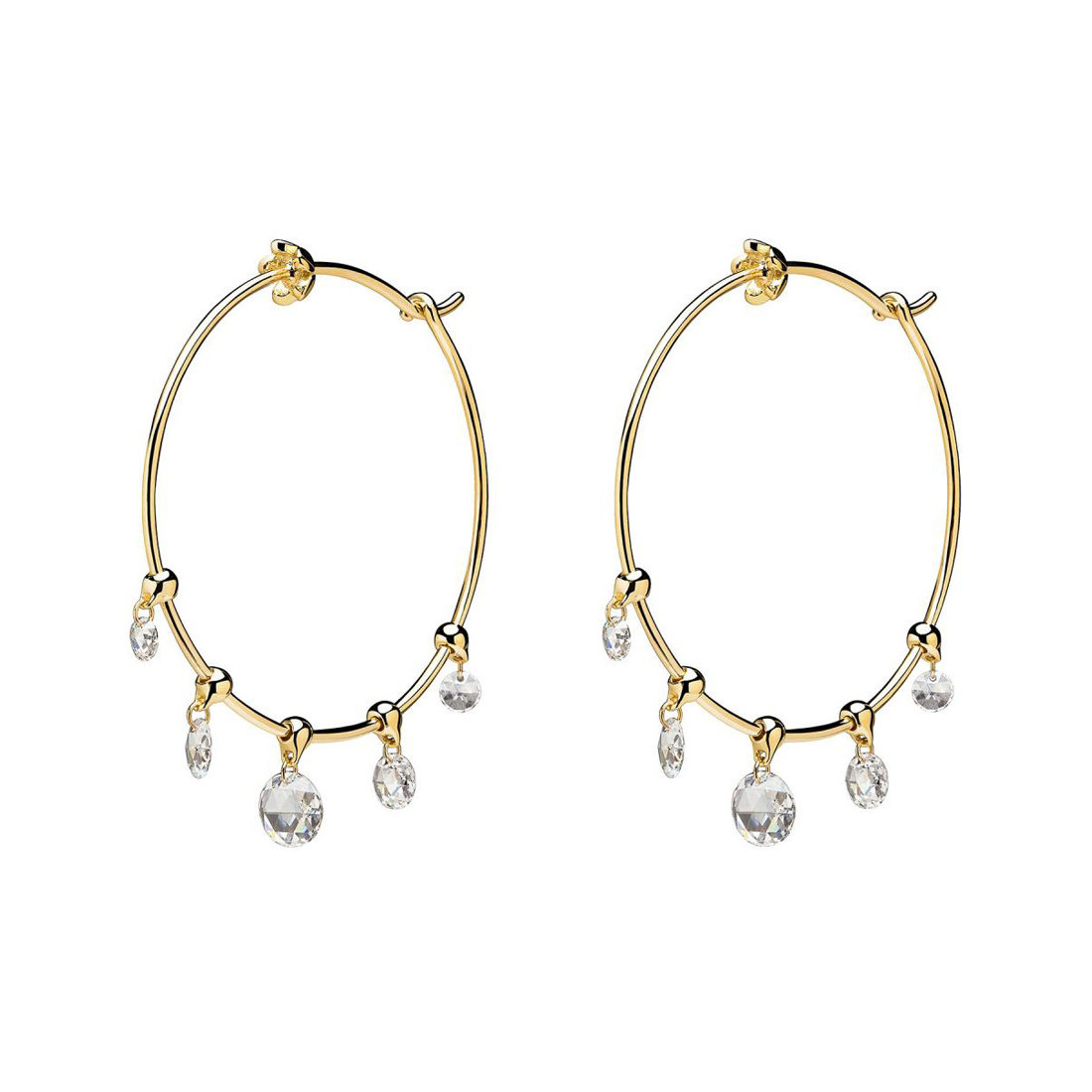 "18k Yellow Gold & Diamond ""Wind Chime"" Hoop Earrings"