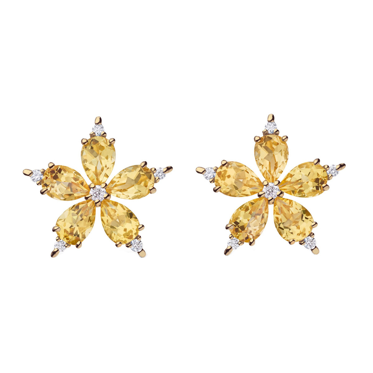 "Large Yellow Beryl & Diamond ""Stellanise"" Earrings"