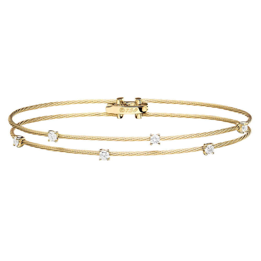 "Thin 18k Yellow Gold & Diamond ""Unity"" Double Bracelet"