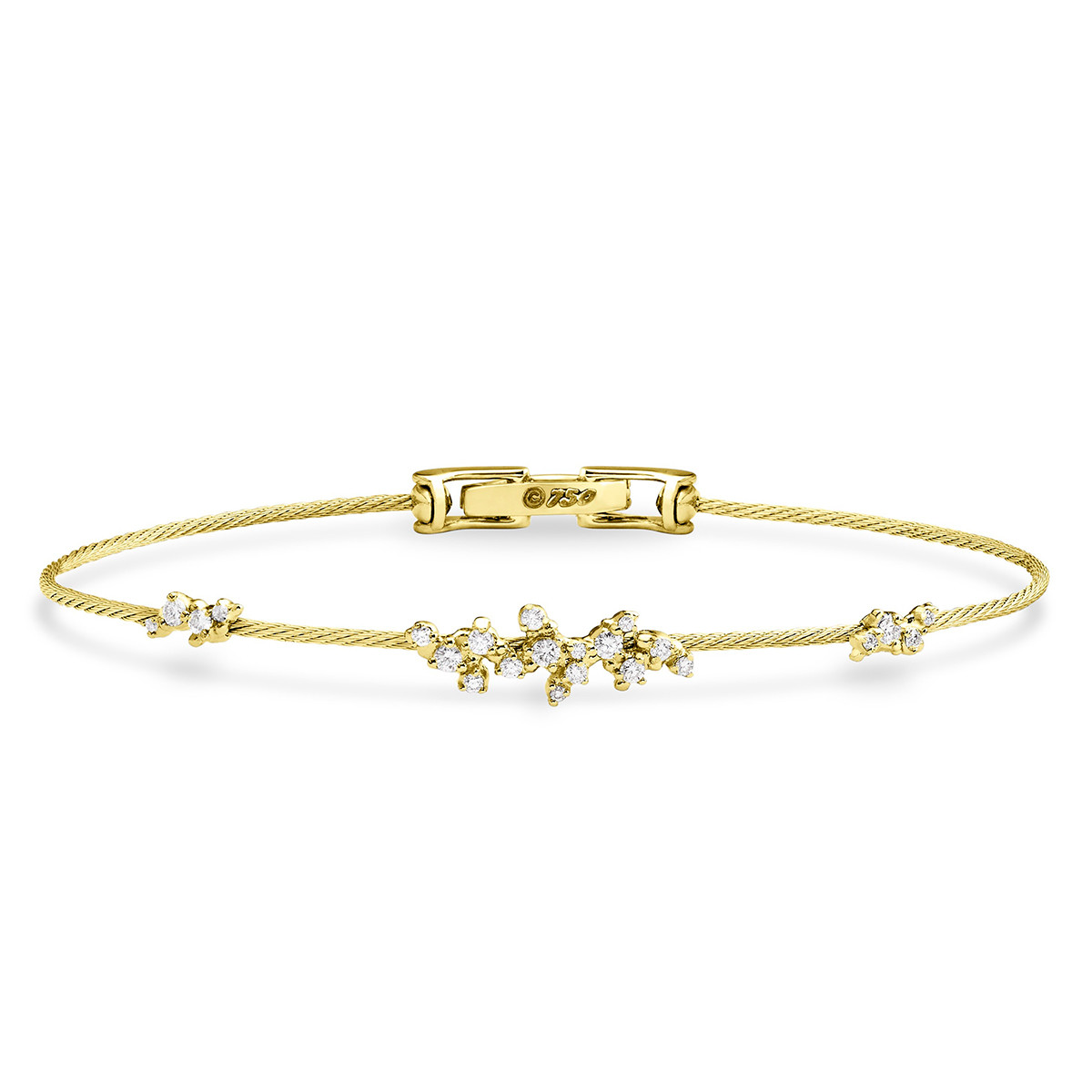 "18k Yellow Gold & Diamond Single Wire ""Confetti"" Bangle Bracelet"