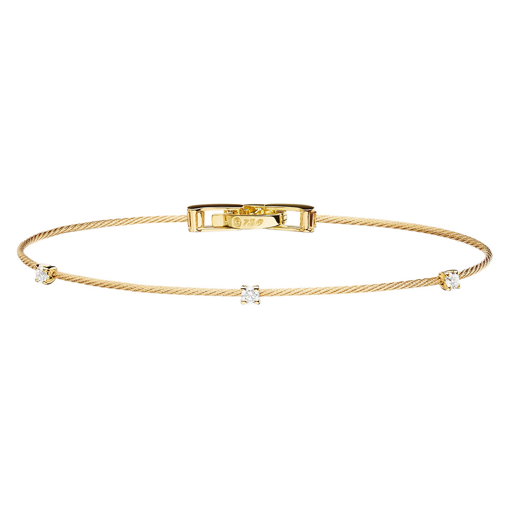 "Thin 18k Yellow Gold & Diamond ""Unity"" Bracelet"