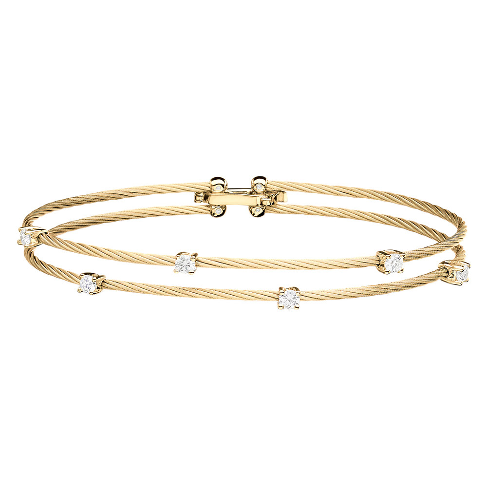 "Wide 18k Yellow Gold & Diamond Double ""Unity"" Bracelet"