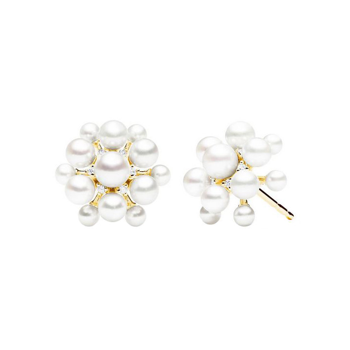 "18k Yellow Gold, Pearl & Diamond ""Orbit"" Earrings"