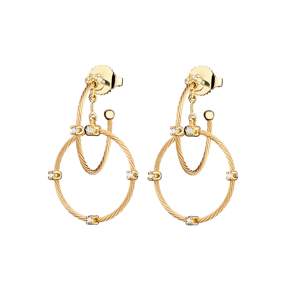 "Short 18k Yellow Gold ""Unity"" Rain Chain Earrings"