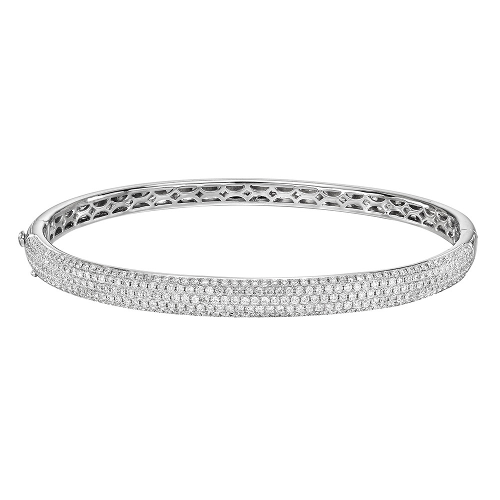 18k White Gold & Pavé Diamond Bangle (~1.5 ct tw)