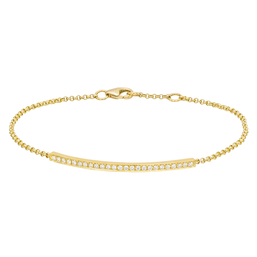 18k Yellow Gold & Diamond Curving Bar Bracelet