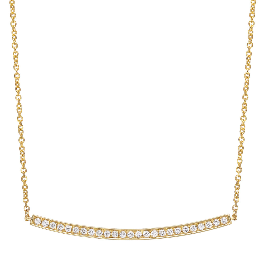 18k Yellow Gold & Diamond Curving Bar Pendant