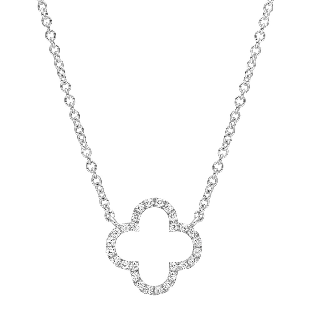 Small 18k White Gold & Diamond Clover Pendant