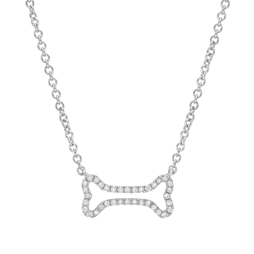 Small white gold diamond dog bone pendant betteridge small 18k white gold diamond dog bone pendant aloadofball Gallery