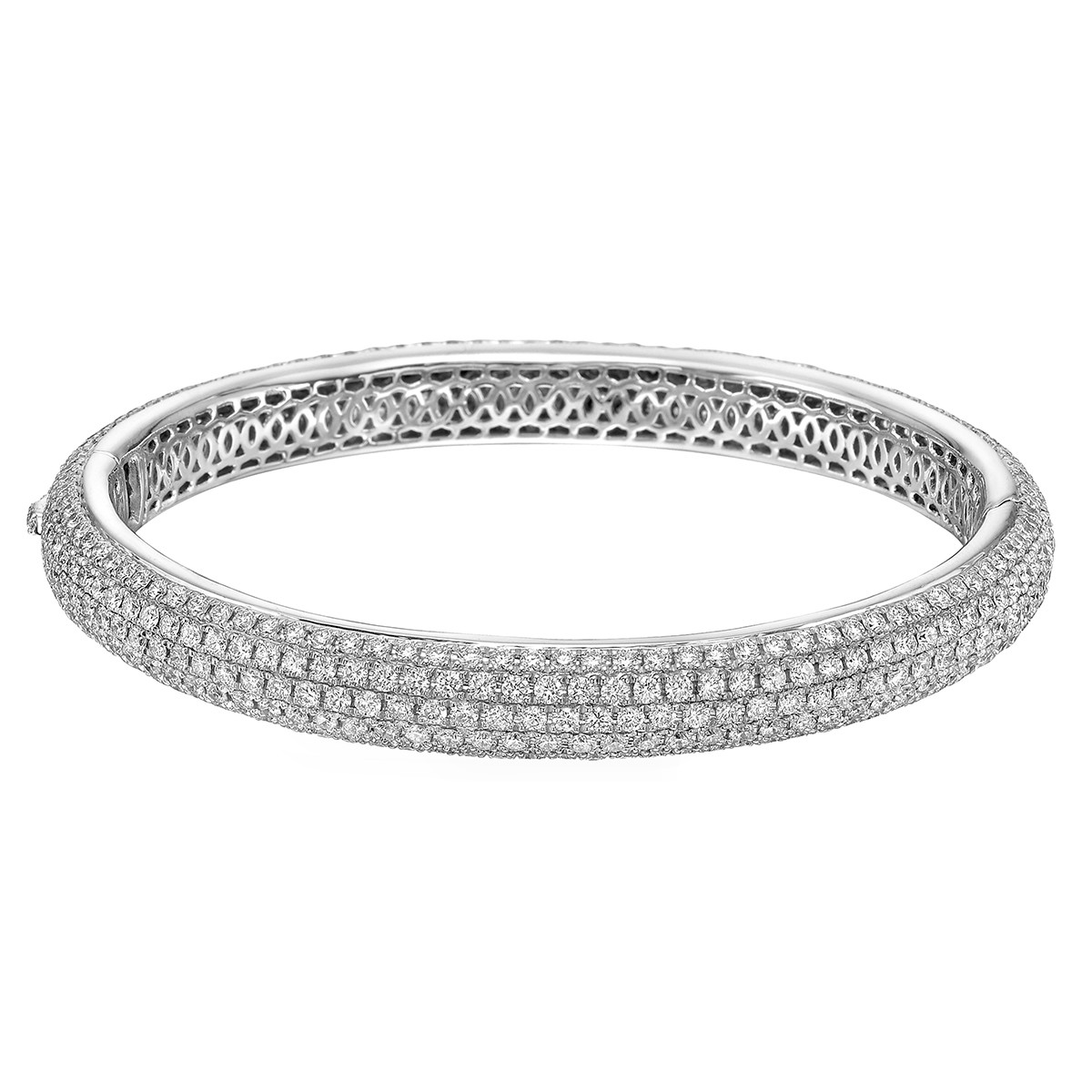 Pavé Diamond Domed Bangle (10.94 ct tw)