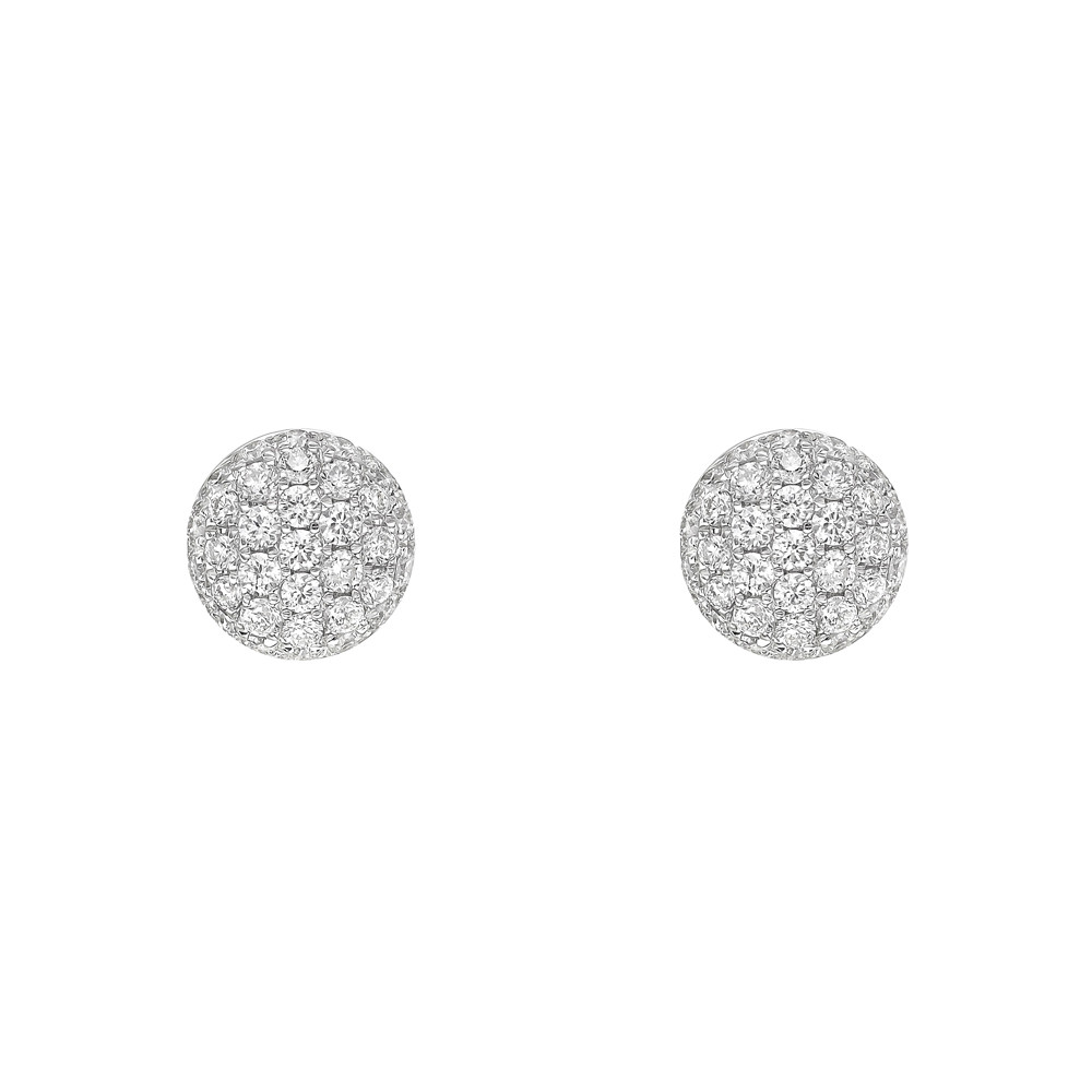 Small 18k White Gold & Pavé Diamond Earstuds