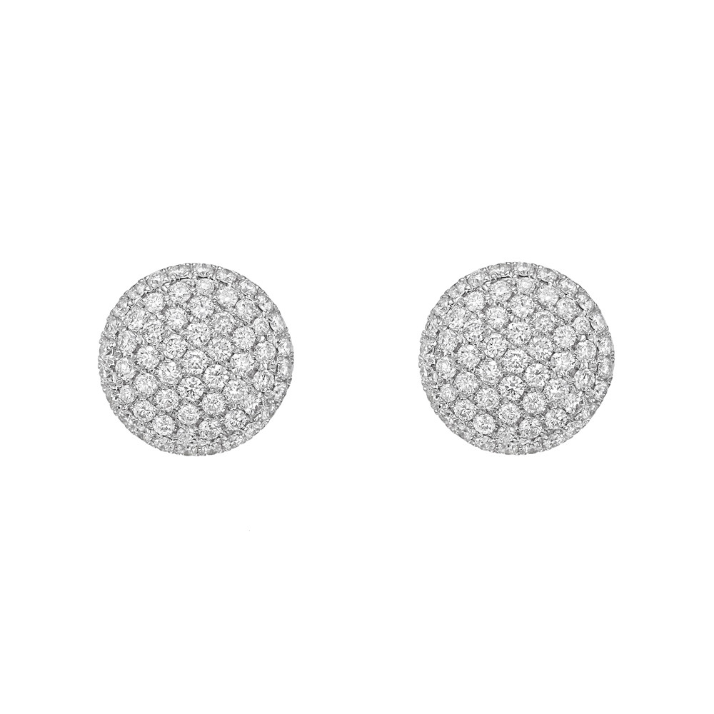 Large 18k White Gold & Pavé Diamond Earstuds